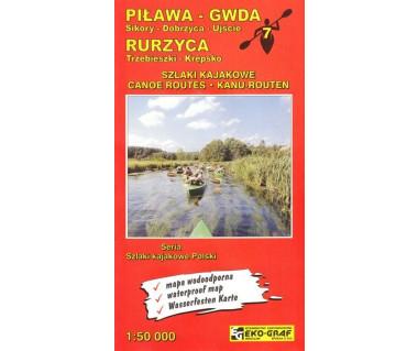 Piława, Gwda, Rurzyca szlaki kajakowe mapa wodoodporna