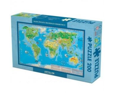 Puzzle 200 Świat mapa młodego odkrywcy