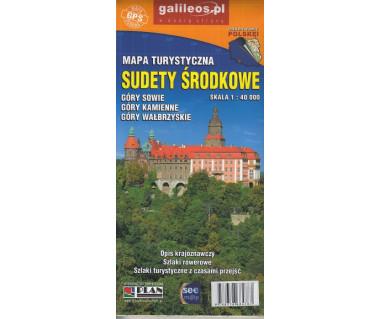 Sudety Środkowe Góry Kamienne, Sowie, Wałbrzyskie mapa laminowana