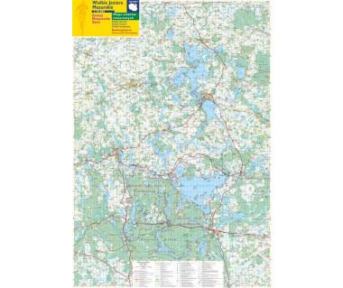 Wielkie Jeziora Mazurskie mapa ścienna szlaków rowerowych