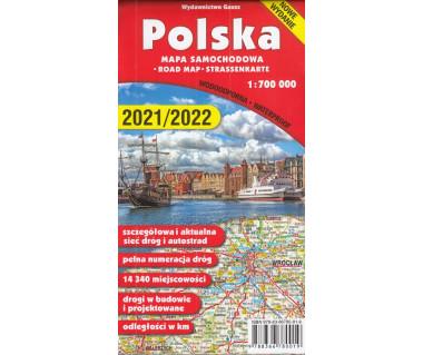 Polska mapa samochodowa wodoodporna