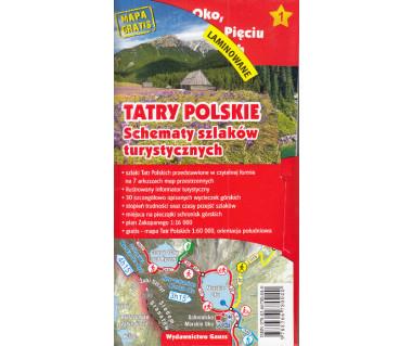Tatry Polskie. Schematy szlaków turystycznych-laminowane
