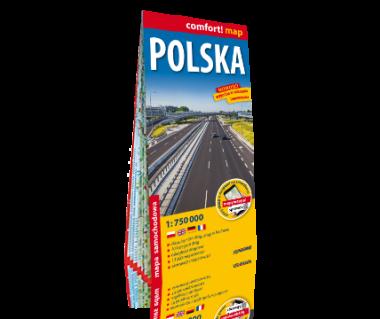Polska mapa samochodowa laminowana
