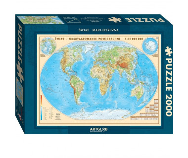 Puzzle 2000 Świat mapa fizyczna