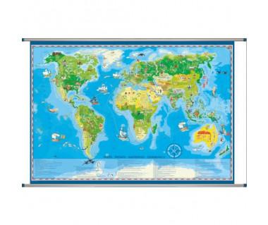 Świat mapa młodego odkrywcy 141x100 cm