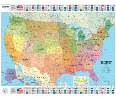USA Political mapa ścienna laminowana 128x100 cm