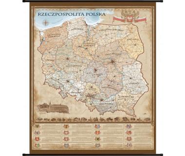 Rzeczpospolita Polska mapa ścienna stylizowana 100x120cm