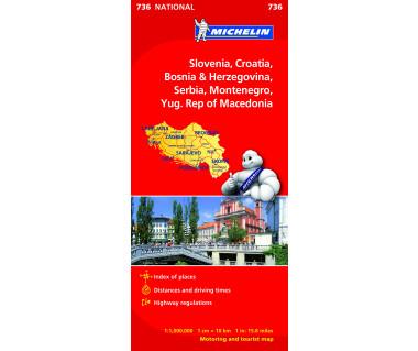 Slovenia, Croatia, Bosnia-Herzegovina, Serbia, Montenegro, Macedonia - Mapa