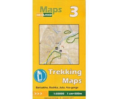 Gruzja mapa trekkingowa 3 (Barisakho, Roshka, Juta, Asa g.) laminowana
