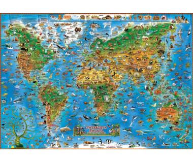 Zwierzęta świata mapa laminowana dla dzieci 137x97cm - listwa