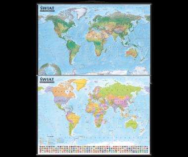 Świat mapa polityczno-krajobrazowa (tuba) 138x98 cm
