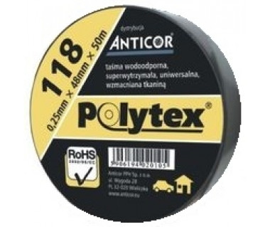 Taśma techniczna Polytex 118 48mm x 9m k:czarny