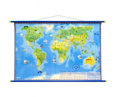Świat mapa młodego odkrywcy 100x70cm